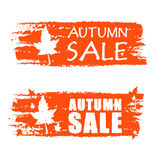 Autumn sale drawn banners with fall leaf Royalty Free Stock Photography
