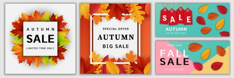 Autumn sale fall banner set, realistic style. Autumn sale leaves. Halloween and Thanksgiving fall season banner concept set. Realistic illustration of 4 Autumn royalty free illustration