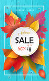 Autumn Sale Fall leafs, blue wooden texture. Water drops  on transparent effect background vector illustration. Realistic 3D Water drops, rain drops texture Royalty Free Stock Image