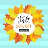 Autumn Sale Fashionable Banner Template avec l'automne coloré part sur le fond bleu à la mode lumineux Photo stock