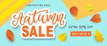 Autumn Sale Fashionable Banner Template avec l'automne coloré part sur le fond bleu à la mode lumineux Photos libres de droits