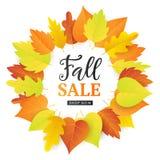 Autumn Sale Fashionable Banner Template avec les feuilles colorées d'automne, d'isolement sur le blanc Image stock