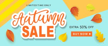 Autumn Sale Fashionable Banner Template with Colorful Fall Leaves on bright trendy blue background. Shopping Discount promotion. Poster, card, flyer, label Royalty Free Stock Photos