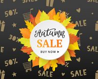 Autumn Sale Fashionable Banner Template with Colorful Fall Leaves wreath. Shopping Discount promotion. Poster, card, flyer, label trendy design. Vector stock illustration
