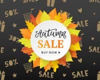 Autumn Sale Fashionable Banner Template con la corona variopinta delle foglie di caduta Fotografie Stock