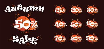Autumn sale fifty percent vector illustration. Discounts in store black friday. Autumn sale fifty percent on black friday shopping vector illustration. Vector Stock Image