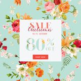 Autumn Sale Floral Banner. Fall Discount Background with Lily and Orchid Flowers. Vector illustration Royalty Free Stock Photography