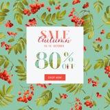Autumn Sale Floral Banner Fall-Rabatt-Hintergrund mit Vogelbeere und Blättern vektor abbildung