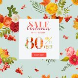 Autumn Sale Floral Banner with Maple Leaves. Fall Discount Background. Vector illustration stock illustration