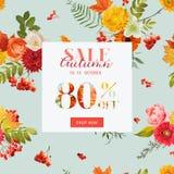 Autumn Sale Floral Banner met Esdoornbladeren De Achtergrond van de dalingskorting Stock Afbeeldingen