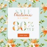 Autumn Sale Floral Banner - para el cartel del descuento, venta de la moda Fotos de archivo