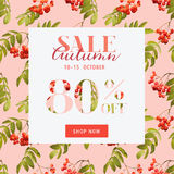 Autumn Sale Floral Banner - pour l'affiche de remise, vente de mode Illustration Stock