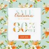 Autumn Sale Floral Banner - pour l'affiche de remise, vente de mode Photos stock