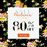 Autumn Sale Floral Banner - pour l'affiche de remise, vente de mode Image libre de droits