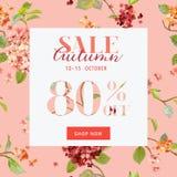 Autumn Sale Floral Hortensia Banner - für Rabatt-Plakat, Mode vektor abbildung