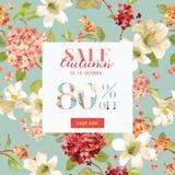 Autumn Sale Floral Hortensia Banner pour l'affiche de remise, vente de mode, offre du marché Image libre de droits