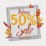 Autumn 50% sale, flyer, banner, poster template. Autumn 50% sale, flyer, banner, poster vector template design with leaves and hand drawn text Stock Illustration