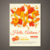 Autumn Sale flyer design with colorful leaves. Stock Image