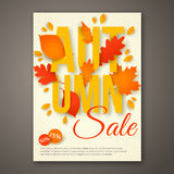 Autumn Sale flyer design with colorful leaves. Stock Photography