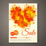 Autumn Sale flyer design with colorful leaves. Royalty Free Stock Image