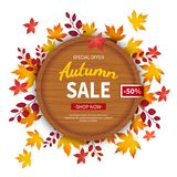 Autumn sale flyer template. Discount in autumn. Poster, card, label, background, banner on circle wooden board with leaves. Stock Photos