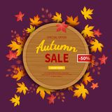 Autumn sale flyer template. Discount in autumn. Poster, card, label, background, banner on circle wooden board with leaves. Royalty Free Stock Photo