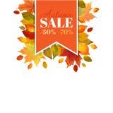 Autumn Sale - fond coloré de feuilles Photos stock