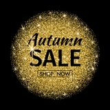 Autumn sale. Gold shape with text on dark background. Sale or pr. Omo poster. Vector illustration royalty free illustration