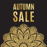 Autumn sale golden black poster with mandala Royalty Free Stock Photo