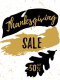 Autumn Sale golden lettering typography design with black oak leaf and brush stroke. Vector illustration for modern Royalty Free Stock Image