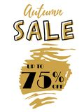Autumn Sale golden lettering typography design with brush stroke. Vector illustration for modern flyer, banner, poster Royalty Free Stock Photos