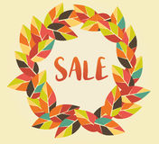 Autumn Sale graphic with colorful leaves Stock Photography