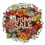 Autumn sale hand lettering and doodles elements Stock Photo