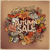Autumn sale hand lettering and doodles elements Royalty Free Stock Image