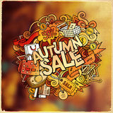 Autumn sale hand lettering and doodles elements Royalty Free Stock Photography