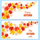 Autumn sale horizontal banner. Autumn orange, red, yellow maple leaves in curved line on white background. Set of cartoon vector illustrations. Concept for vector illustration
