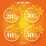 Autumn sale icons with chestnut leaves. Vector illustration. EPS 10 Stock Images
