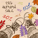 Autumn sale illustration with girls feet in boots Royalty Free Stock Image