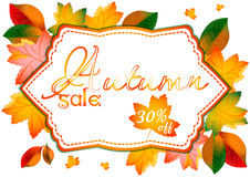 Autumn sale label with orange leaves Royalty Free Stock Photo