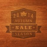 2014 Autumn Sale Label On Wood Texture. Vector Royalty Free Stock Photos