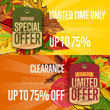 Autumn sale labels set. Special and limited offer Stock Images