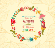 Autumn sale leaves background retro Royalty Free Stock Image