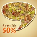 Autumn sale leaves bubble. Autumn sale poster with leaves bubble Stock Images