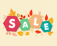 Autumn sale with leaves, grunge drawn hexagons labels Royalty Free Stock Photo