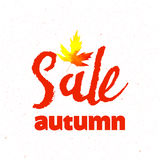 Autumn sale lettering design. Fall leaf. Label, banner template. Stock Photo