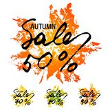 Autumn sale lettering with maple leaf Stock Photo