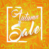 Autumn Sale Lettering Seasonal Banner Postcard. Design Background Royalty Free Stock Photography