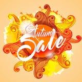 Autumn Sale Lettering Seasonal Banner-Prentbriefkaar Stock Fotografie