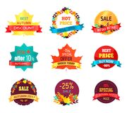 Autumn 2017 Sale Logo Icon Vector Illustration. Autumn 2017 sale logo icon isolated on white background. Vector illustration with seasonal discount advertisement Stock Photos