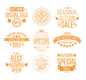 Autumn sale Logotypes set. Special offer badges. And labels, ribbons orelements with leaves, banners. Vector Illustration Stock Image